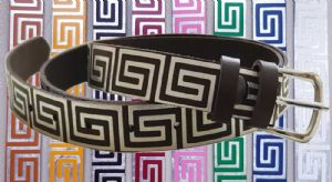 25mm Embossed Aztec Maze Leather Belt with removable buckle